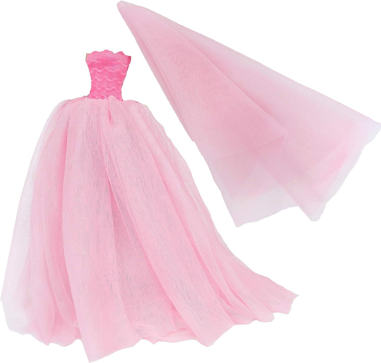 BJDBUS 11.5 inch Rapid rise Girl High quality new Doll Pink Clothes Dress Wedding Trailing