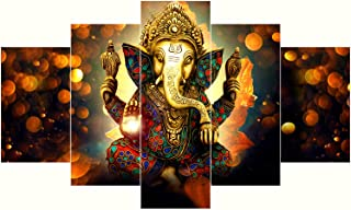 Saumic Craft Set Of 5 Ganesh Ganesha 3D MDF Framed Uv Coated Painting For Wall For Home Décor Decortations And Gifting Wit...