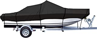 iCOVER Trailerable Boat Cover, Heavy Duty Waterproof UV Resistant Marine Grade Polyester Fits V-Hull,TRI-Hull,Pro-Style,Fishing Boat,Runabout,Bass Boat, Optional Support Pole/Tightening Straps…