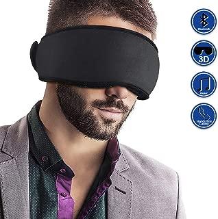 Mydeal Bluetooth Sleep Mask Headphone Wireless 3D Sleep Eye Mask Headphone Sleepphone Speakers Mic for Men Women, Block Out Light, Soft Comfort Eye Shade Cover for Travel Yoga Meditation Gift - Black