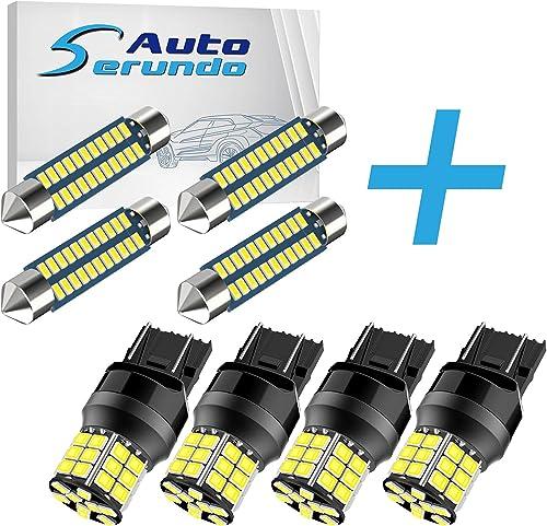 discount Serundo Auto 4pcs 578 Led outlet sale Bulb + 4pcs 7443 online sale LED Bulbs… online sale