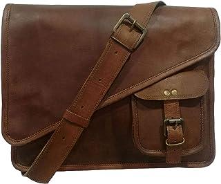 Madosh Mens Laptop Office Shoulder Bag Business Crossbody Messenger Genuine Goat Hide Leather