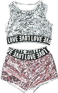 0fe6f74c275d9 unbrand Costumes pour Enfants Filles Modern Jazz Hip-Hop Dancewear Vêtements  de Baseball Paillettes Costumes
