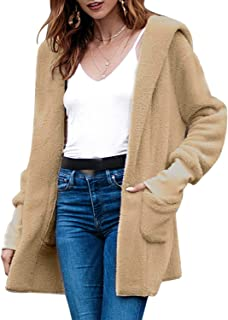 Hooded Long Sleeve Solid Color Plush Coat with Pocket Women's (Color : Khaki, Size : XL)