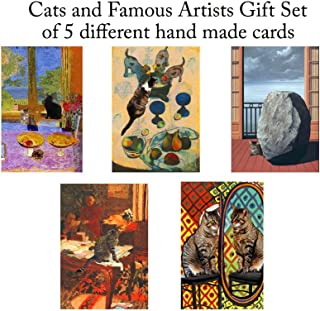 Set of 5 Cat Greeting Cards, Assorted Blank Notecards, Favorites From Famous Artists Cats, Gifts for Crazy Cat Lovers By Deborah Julian