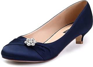 Women Closed Toe Comfort Kitten Heels Rhinestones Satin Wedding Evening Dress Shoes