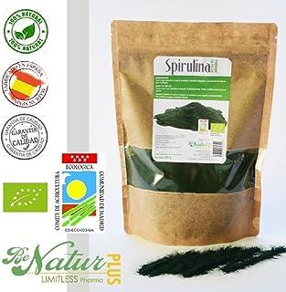 Spirulina en polvo BeNatur Plus - 100% Alga Spirulina Platensis en polvo de Pureza Garantizada Libre de Pesticidas y de cualquier tipo de productos Químicos 200 g
