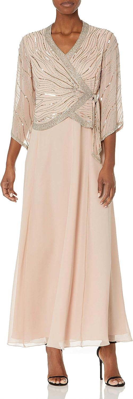 J Kara unisex Women's Long 3 4 V-Neck Wrap Beaded Sleeve Faux Dress Sale special price