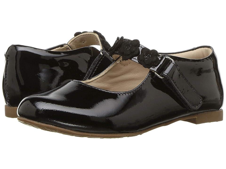 Elephantito Flower Mary Jane (Toddler/Little Kid) (Patent Black) Girls Shoes