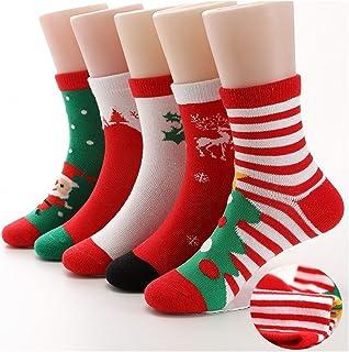 WanXingY, 5 Pares de algodón Rojo Chico de Navidad Calcetines niños Calcetines Chicas Calcetines niños Calcetines 2-15 años (Color : SDW 5 Pairs, Size : 3 5 Year)