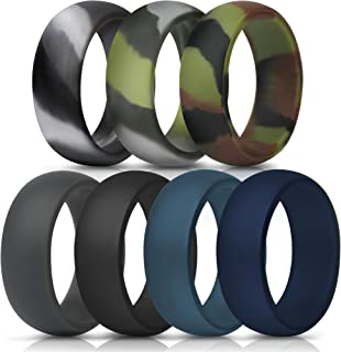 Silicone Rings, 7 Rings / 1 Ring Wedding Bands for Men - 8.7 mm Wide - 2.5mm Thick