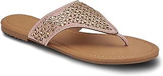 Ladies Embellished Cutout Thong Sandal