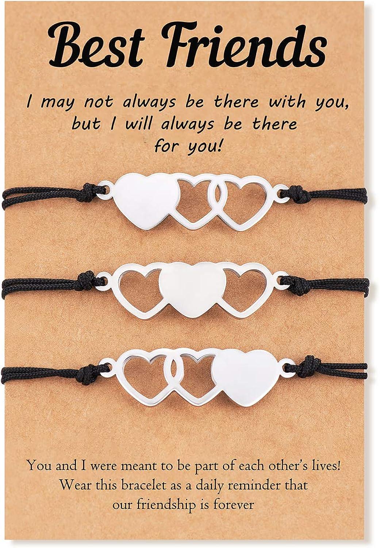 Tarsus 2/3/4Pcs Best Friend Bracelets Friendship Bff Matching Distance Heart Bracelet Gifts for Women Girls Teen Men
