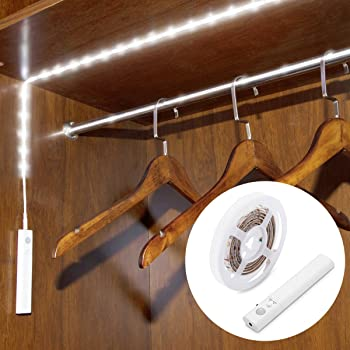 WILLED AAA Batteries Operated 3.3ft LED Stirp Light, with Motion Sensor and Manual Switch, Stick on Anywhere for Clos...