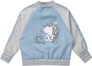 MSemis Giacca Sportiva Bambina Felpe in Pile Stampato Unicorno Principessa Felpe Sportive Senza Cappuccio Cappotto con Tasche Giacca a Vento Autunno Invernale Primavera