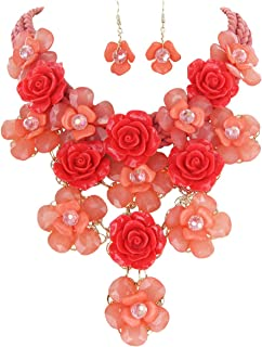 Enamel Floral Bouquet Statement Necklace and Earring Set