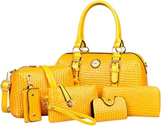 W & L Collection Women's 6Pcs Light Leather Business Bag Casual Daypack Handbag Set