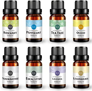 Aromatherapy Essential Oil Gift Set Top 8 100% Pure Therapeutic Grade Oil - 8/10 ml (Lavender, Tea Tree, Eucalyptus, Lemongrass, Sweet Orange, Peppermint, Frankincense and Rosemary)