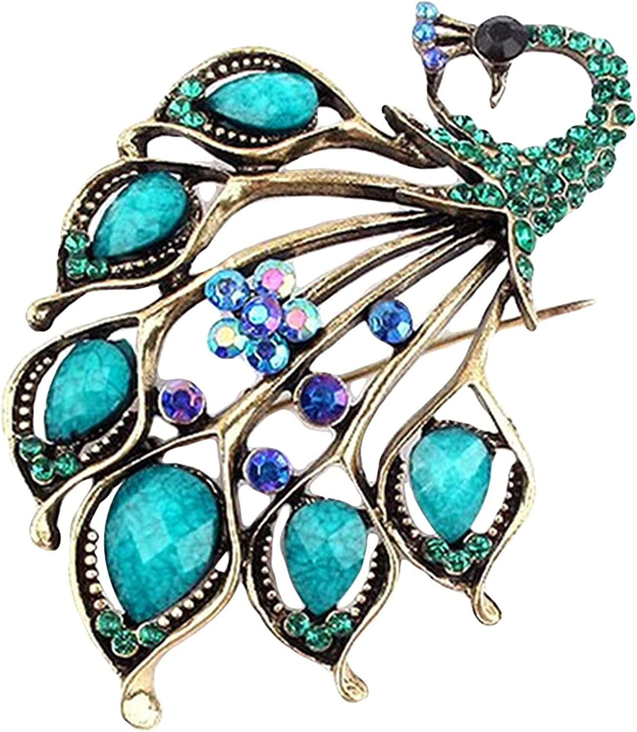 Handmade Brooches Buttons & Pins,Brooch Rhinestone Decor Peacock Shaped Alloy Women Fashion Brooch Buckle for Scarf