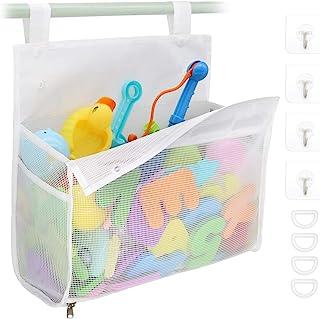 راه حل های متعدد برای آویزان کردن اسباب بازی حمام ، نگهدارنده اسباب بازی حمام ، کیسه ذخیره اسباب بازی حمام زیر زیپ (سفید)