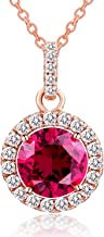 Vibrille Sterling Silver Created Gemstone Jewelry Halo Pendant Necklace for Women, 18''