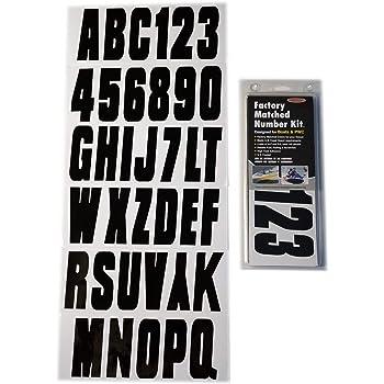 Hardline Products BLK350EC Series Factory Matched 3-Inch Boat & PWC Registration Number Kit, Solid Black