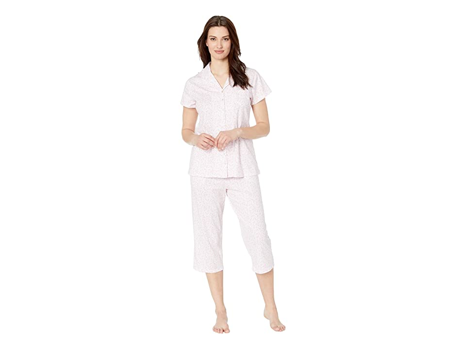 Eileen West Cotton Jersey Notch Collar Pajama Set (White Rose Leaf Print) Women