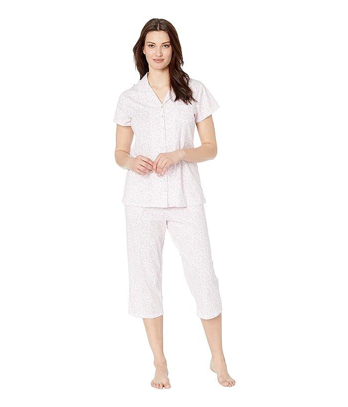 Eileen West Cotton Jersey Notch Collar Pajama Set (White Rose Leaf Print) Women