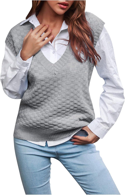 KCJGIKPOK Women Knitwear Tank Top V Neck Knitted Sweater Vest Sleeveless Crop Sweaters