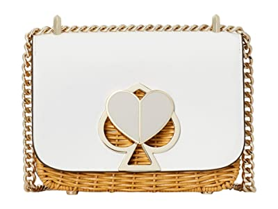 Kate Spade New York Nicola Wicker Small Convertible Chain Shoulder Bag (Optic White) Handbags