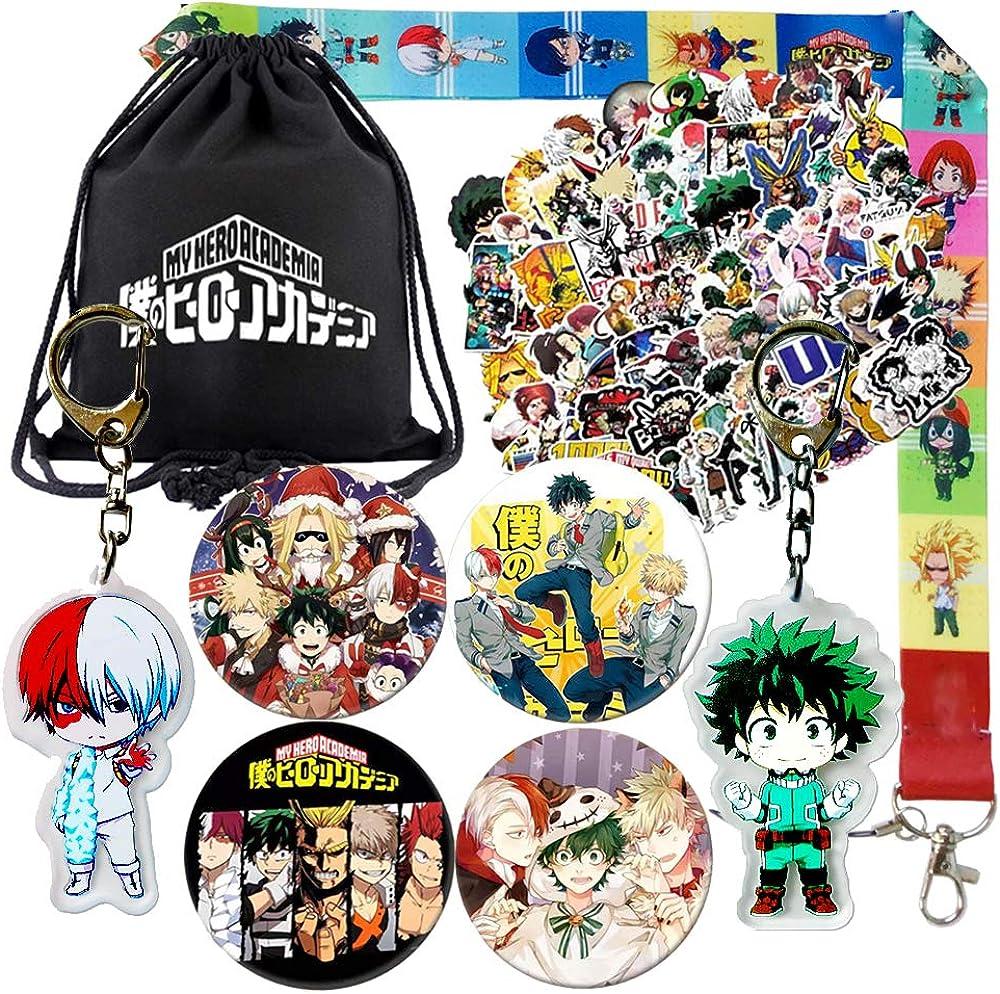 My Hero Academia Coffret cadeau avec 1 pochette /à cordon de serrage 2 badges et 1 anneau pour t/él/éphone portable 1 porte-cl/és 12 feuilles dautocollants
