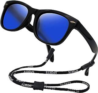 Kids Flexible Polarized Sunglasses for Boys Girls Age 3-10 with Straps (Mirror Lens Black Frame)