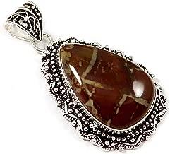 GoyalCrafts Sonoran Dendritic Rhyolite Natural Gemstone Pendant Silver Plated Jewelry GPU82