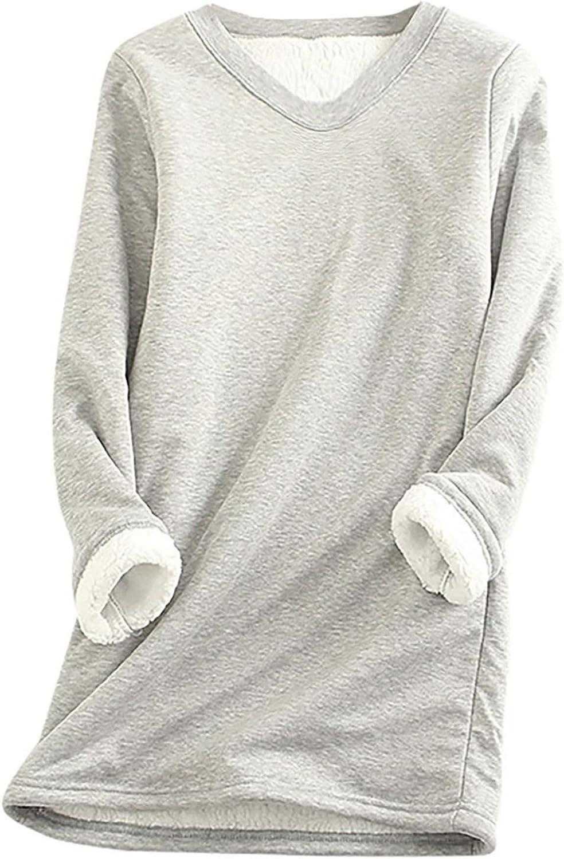 Women's Thick Fleece Sweatshirt for Fall/Winter Plus Size Blouse to Keep Warm V-Neck Underwear