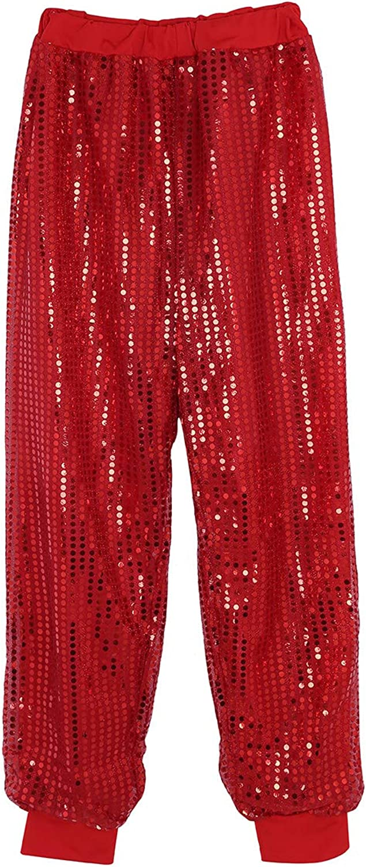Agoky Women's Glitter Sequins Harem Hip Hop Dance Pants Hippie Boho Trousers Dancewear