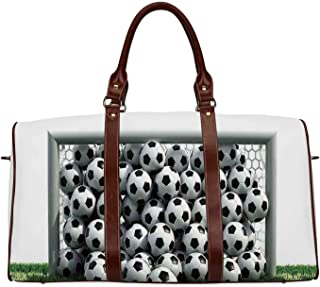 Sports Decor Personal Travel Bag,Goal Net Full of Soccer Balls on the Football Field Schoolyard Victory for Market,18.62