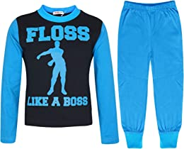 Enfants Filles Garcons Bleu Pyjamas Branché Floss