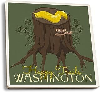 Lantern Press Washington - Happy Trails - Banana Slug (Set of 4 Ceramic Coasters - Cork-Backed, Absorbent)