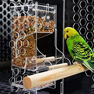 Bird Feeder Acrylic Automatic Parrot Feeder No Mess Feeding Device Seed Food Container Pet Supply Automatic Feeder Bird Fe...