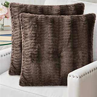 Pair of  Decorative Brown  Pillow Case Soft Velvet Pillow coverBrown throw pillow covers 15 x 15 Inches