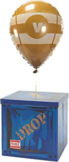 CampLiner Large Loot Drop Box W/One Matching Yellow Balloon - Gamer Birthday Party Supplies - Goes with Merch, Pickaxes - ...