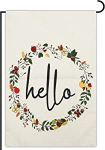 Double Sided Fall Garden Flag, Floral Hello (12.5 x 18 In)