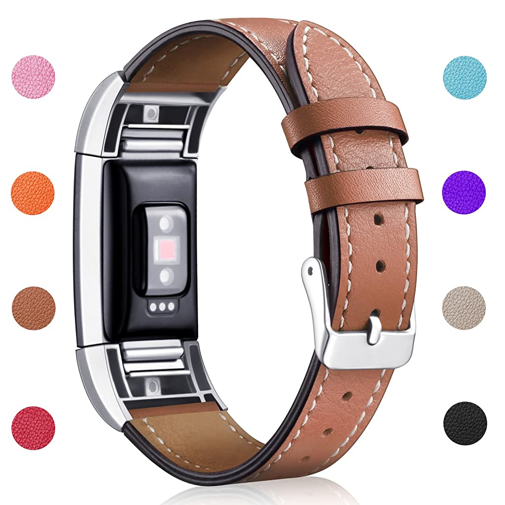 Hotodeal Band Compatible Charge 2 Replacement Bands, Classic Genuine Leather Wristband Metal Connectors, Fitness Strap Women Men Small Large