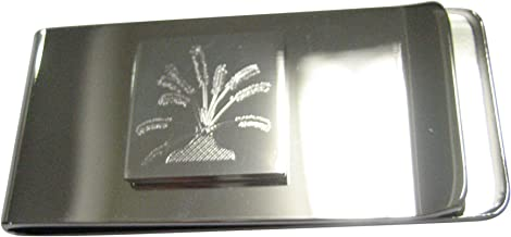 Kiola Designs Silver Toned Etched Drosera Capensis Sundew Carnivorous Plant Money Clip