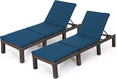 Christopher Knight Home Joyce Outdoor Multibrown Wicker Chaise Lounge with Blue Water Resistant Cushion (Set of 2)