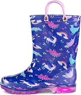 KomForme Toddler Girl Rain Boots Light Up,Waterproof Soft Soles Shoes with Easy-on Handles