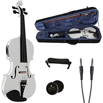Cecilio 4/4 CVNAE-White Ebony Fitted Acoustic/Electric Violin in Pearl White(Full Size)