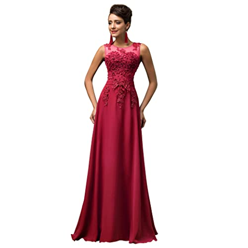 235b522524a3a GRACE KARIN Chiffon V Back Evening Dresses Prom Gown with Beads Appliques