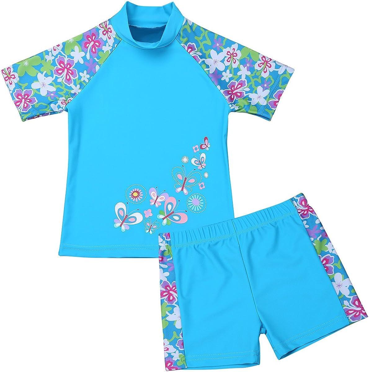 iEFiEL Big Girls Swimsuit UPF 50+ UV Two Piece Swimwear Tankini Rash Guard Top Boyshort Sets Beach Wear Bathing Suit