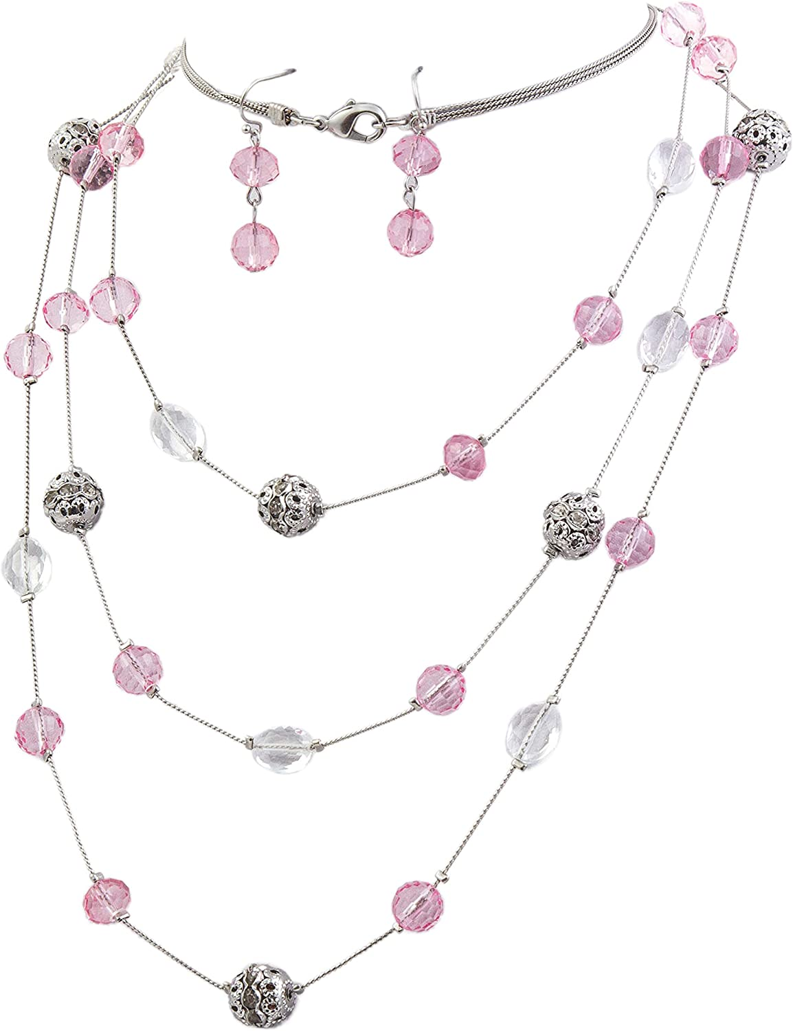 Bocar Fashion 3 Layer Handmade Beads Necklace Earring Set Long Illusion Necklace for Women